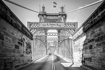 Photograph - Cincinnati Ohio John A. Roebling Bridge - Black And White by Gregory Ballos