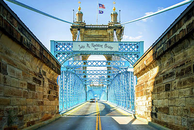 Photograph - Cincinnati Ohio John A. Roebling Bridge by Gregory Ballos