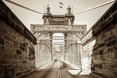 Photograph - Cincinnati Ohio John A. Roebling Bridge - Sepia by Gregory Ballos