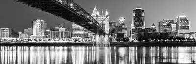 Photograph - Cincinnati Ohio Panoramic Skyline Reflections - Black And White by Gregory Ballos