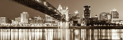 Photograph - Cincinnati Ohio Panoramic Skyline Reflections - Sepia by Gregory Ballos