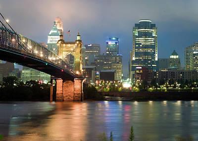 Photograph - Cincinnati Ohio Skyline And Roebling Bridge - Color Edition  by Gregory Ballos