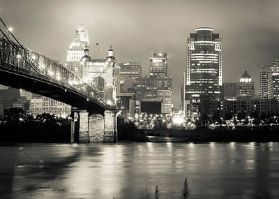 Photograph - Cincinnati Ohio Skyline And Roebling Bridge - Creamtone Edition  by Gregory Ballos