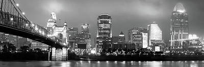 Photograph - Cincinnati Ohio Skyline And Roebling Bridge Panorama - Black And White Edition  by Gregory Ballos