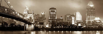 Cincinnati Photograph - Cincinnati Ohio Skyline And Roebling Bridge Panorama - Sepia Edition  by Gregory Ballos
