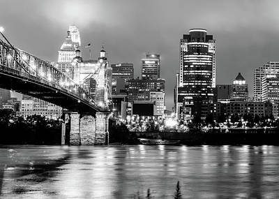 Photograph - Cincinnati Ohio Skyline And The Ohio River - Black And White by Gregory Ballos