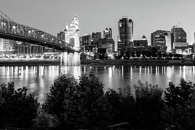 Photograph - Cincinnati Ohio Skyline At Dawn In Black And White by Gregory Ballos