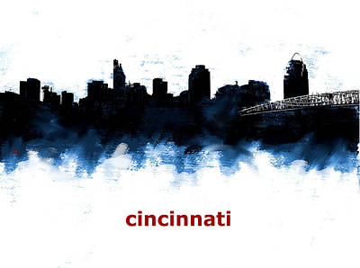 Cincinnati Skyline Painting - Cincinnati Ohio Skyline Blue 1 by Enki Art