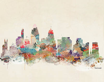Painting - Cincinnati Ohio Skyline by Bleu Bri