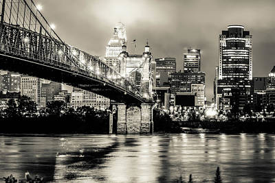 Photograph - Cincinnati Ohio Skyline Cityscape Downtown - Monochrome by Gregory Ballos