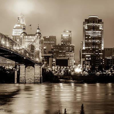 Photograph - Cincinnati Ohio Skyline Cityscape In Sepia 1x1 by Gregory Ballos