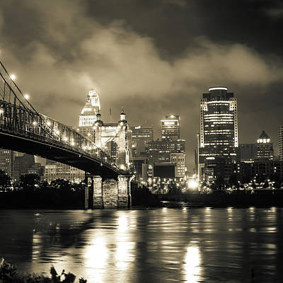 Photograph - Cincinnati Ohio Skyline In Sepia 1x1 by Gregory Ballos