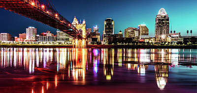 Photograph - Cincinnati Ohio Skyline Morning City Reflection Panorama by Gregory Ballos