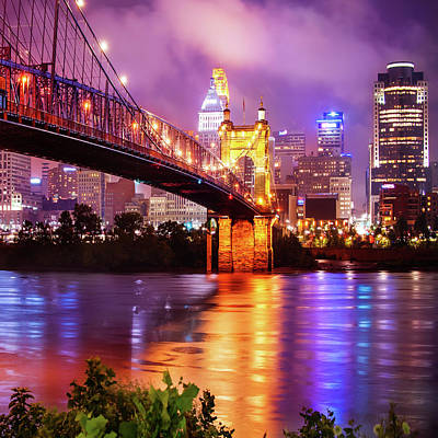 Royalty-Free and Rights-Managed Images - Cincinnati Ohio Skyline on the River 1x1 by Gregory Ballos