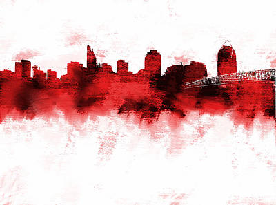 Cincinnati Skyline Painting - Cincinnati Ohio Skyline Red by Enki Art