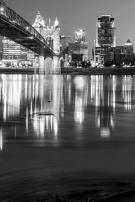 Photograph - Cincinnati Ohio Skyline Reflections At Dawn - Black And White by Gregory Ballos