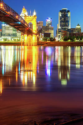 Photograph - Cincinnati Ohio Skyline Reflections At Dawn by Gregory Ballos