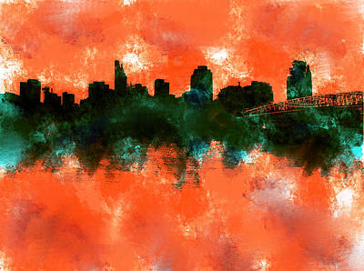 Cincinnati Skyline Painting - Cincinnati Ohio Skyline Orange  by Enki Art