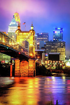 Photograph - Cincinnati Ohio Skyline With John Roebling Bridge - Color by Gregory Ballos