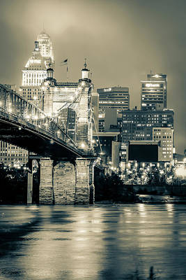 Photograph - Cincinnati Ohio Skyline With John Roebling Bridge - Sepia by Gregory Ballos