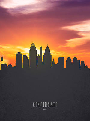Cincinnati Ohio Sunset Skyline 01 Art Print by Aged Pixel