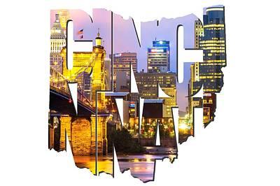 Photograph - Cincinnati Ohio Typography - Cincinnati Skyline And The John A. Roebling Suspension Bridge by Gregory Ballos