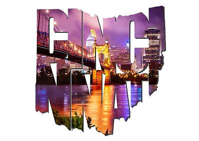 Photograph - Cincinnati Ohio Typography - The Vibrant Cincinnati Ohio Skyline And John Roebling Suspension Bridge by Gregory Ballos
