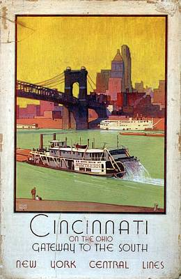 Mixed Media - Cincinnati On The Ohio Gateway To The South - New York Central Lines - Retro Travel Poster by Studio Grafiikka