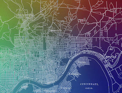 Mixed Media - Cincinnati Pop Art Map by Dan Sproul