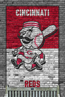 Painting - Cincinnati Reds Brick Wall by Joe Hamilton