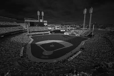 Photograph - Cincinnati Reds Great America Ballpark Creative 3 Black And White by David Haskett II