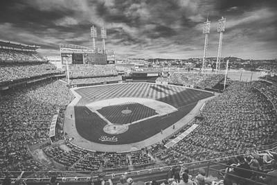 Photograph - Cincinnati Reds Great American Ballpark Creative 6 Black White by David Haskett II