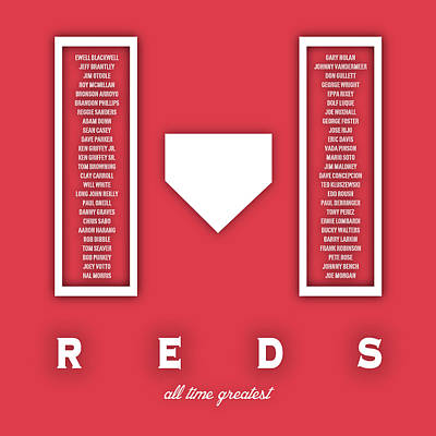 Cincinnati Digital Art - Cincinnati Reds Art - Mlb Baseball Wall Print by Damon Gray