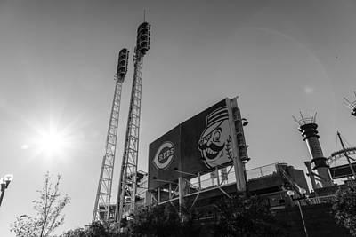 Cincinnati Reds Riverfront Stadium Black And White  Print by John McGraw