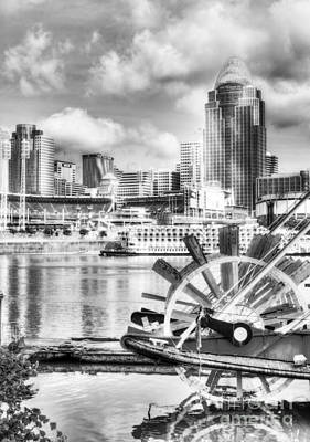 Skyscapers Photograph - Cincinnati River Days Bw by Mel Steinhauer