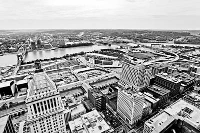 Cincinnati Skyline Aerial Art Print by Paul Velgos