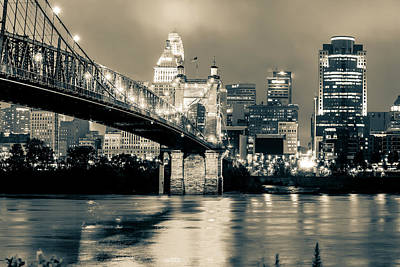 Photograph - Cincinnati Skyline And Bridge Art - Ohio Cityscape Photography Black And White - Sepia by Gregory Ballos
