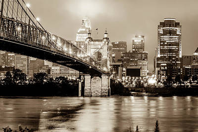 Photograph - Cincinnati Skyline And Bridge Art - Ohio Cityscape Photography In Sepia by Gregory Ballos