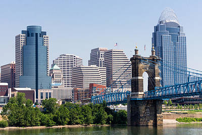 Roebling Bridge Photograph - Cincinnati Skyline And John Roebling Bridge by Paul Velgos