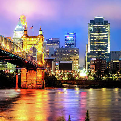 Photograph - Cincinnati Skyline And Ohio River 1x1 by Gregory Ballos