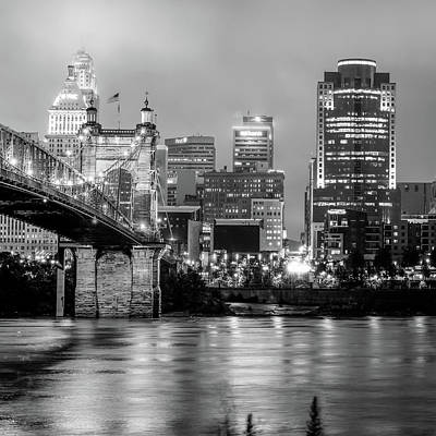 Photograph - Cincinnati Skyline And Ohio River Black And White 1x1 by Gregory Ballos