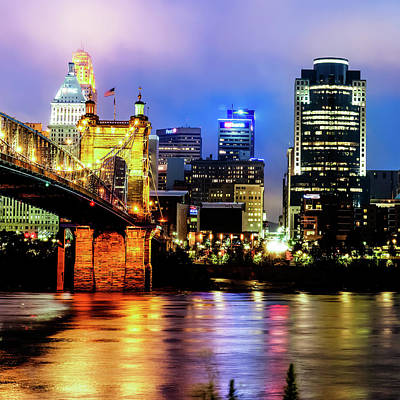 Photograph - Cincinnati Skyline And Ohio River Color 1x1 by Gregory Ballos