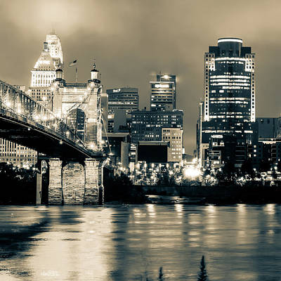 Photograph - Cincinnati Skyline And Ohio River Sepia 1x1 by Gregory Ballos