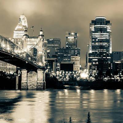 Photograph - Cincinnati Skyline And Ohio River Sepia 1x1 by Gregory Ballos