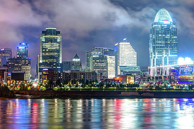 Print featuring the photograph Cincinnati Skyline And The Great American Ballpark by Gregory Ballos