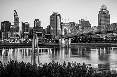 Photograph - Cincinnati Skyline Art Print - Black And White by Gregory Ballos