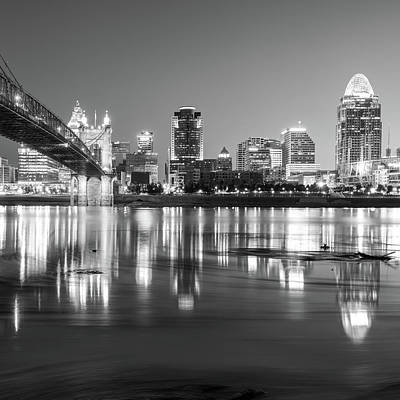 Photograph - Cincinnati Skyline At Dawn - Square Format - Black And White by Gregory Ballos