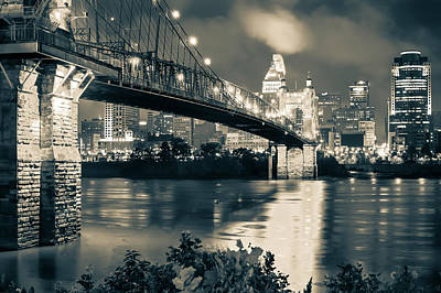 Photograph - Cincinnati Skyline At Night In Sepia by Gregory Ballos