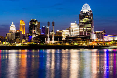Ballpark Photograph - Cincinnati Skyline At Night  by Paul Velgos