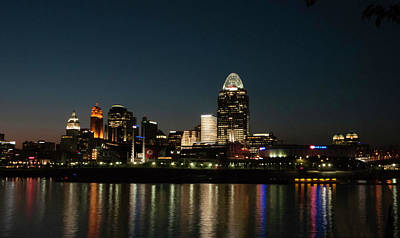 Photograph - Cincinnati Skyline At Night by Phyllis Taylor